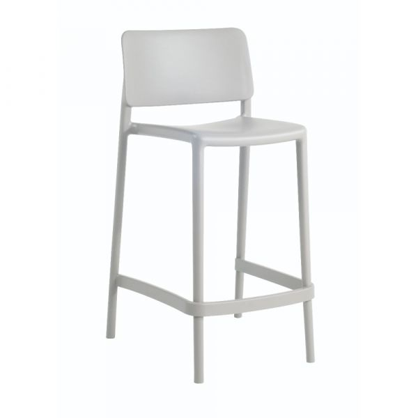 Joy Polypropylene Stacking Mid-Height Bar Chair in Grey