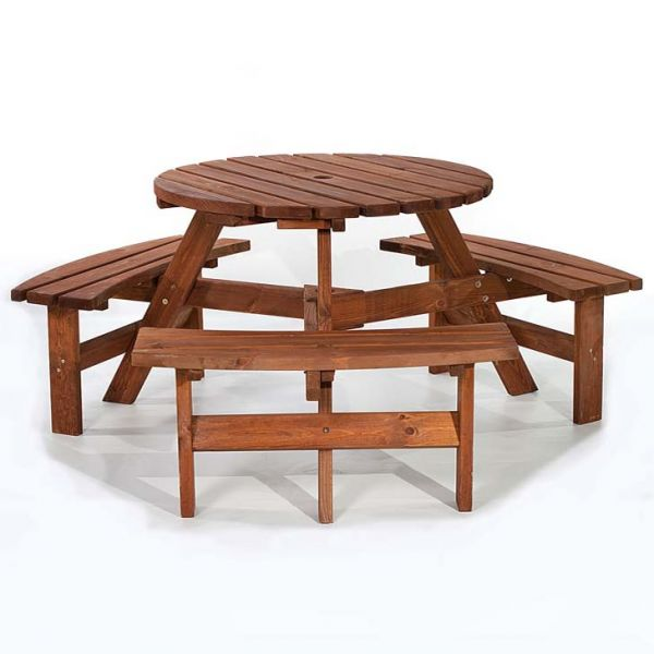 Brentwood Round 6 Seat Commercial Picnic Table in Brown