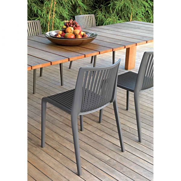 Cool Polypropylene Stacking Side Chair in Anthracite