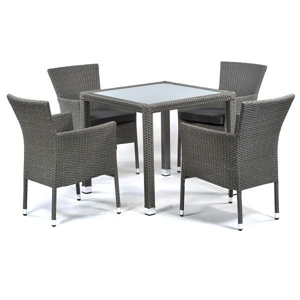 Oasis Rattan Square 4 Seat Glass Dining Set with Cushions