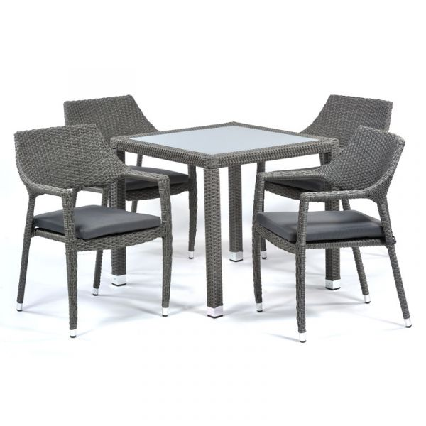 Oasis Rattan Square Glass Table and 4 Arm Chairs with Cushions