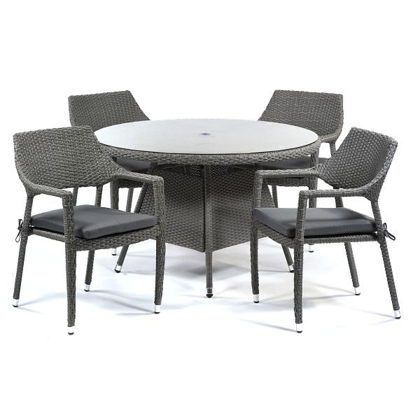 Oasis Rattan Round Glass Table and 4 Arm Chairs
