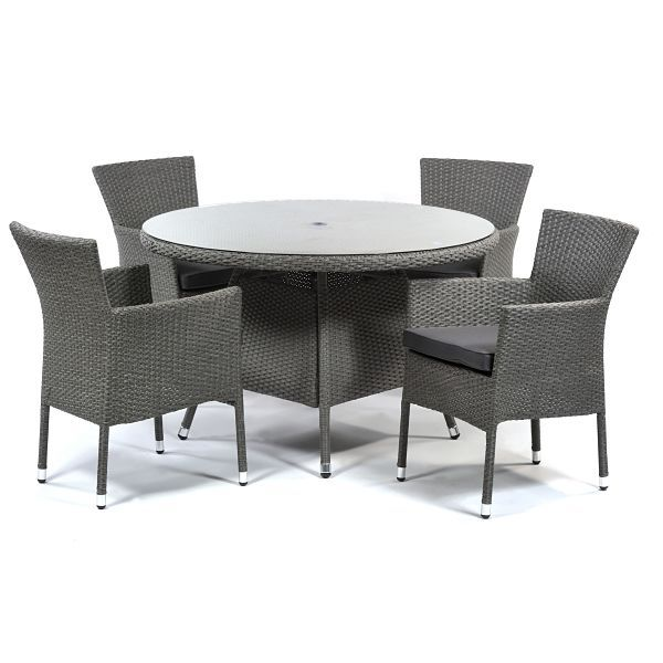 Oasis Rattan Round Glass Table and 4 Arms with Cushions