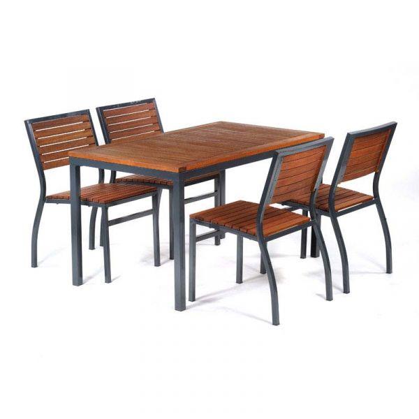 Dorset Hardwood Rectangular Table and 4 Side Chairs