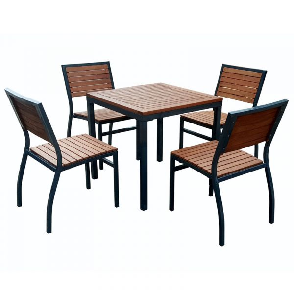 Dorset Hardwood Square Table and 4 Side Chairs