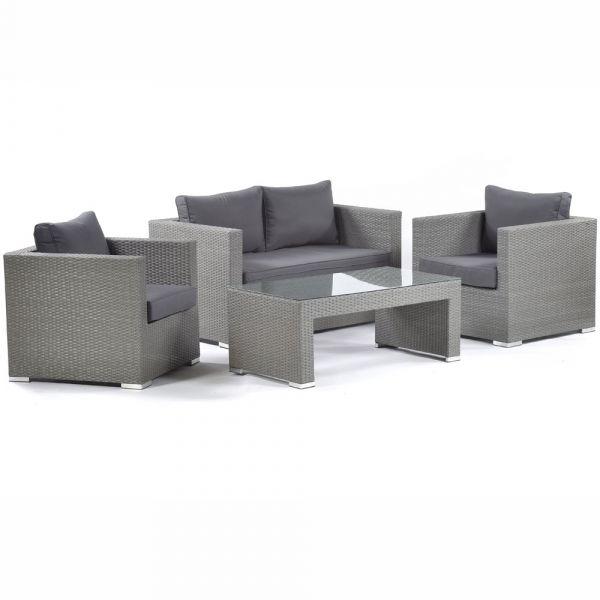 Oasis Rattan Sofa Set with Glass Coffee Table
