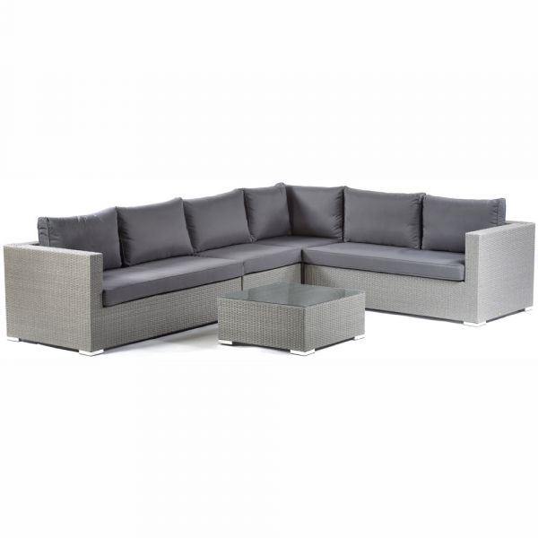 Oasis Rattan Corner Sofa and Glass Coffee Table with Middle Section