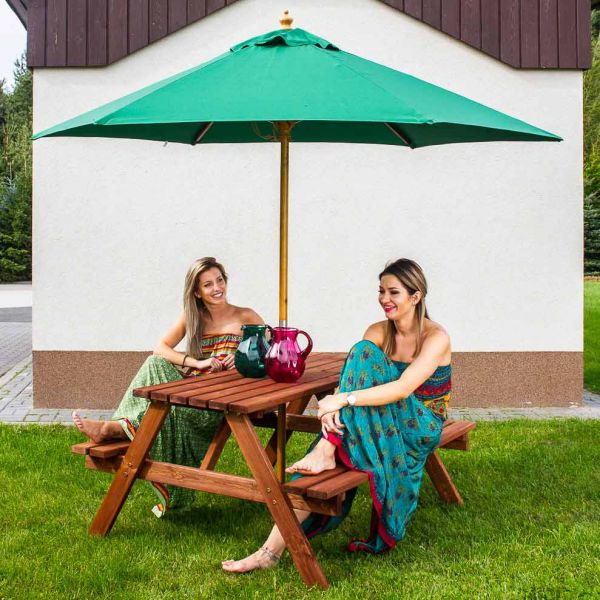 Chester A Frame 6 Seat Commercial Picnic Table in Brown