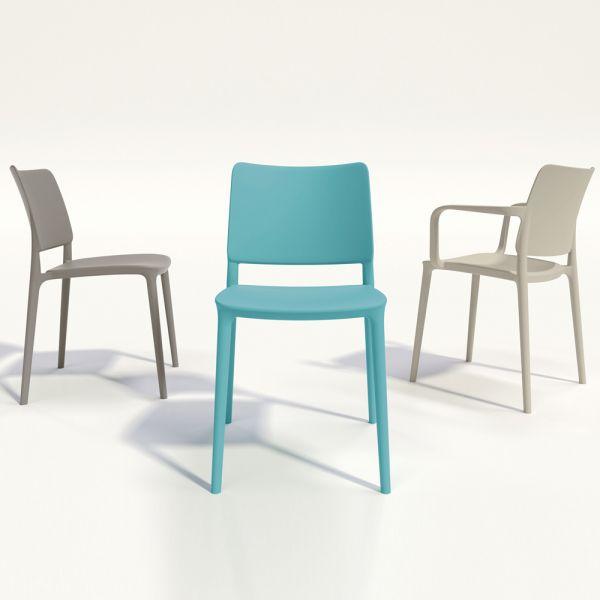 Joy Polypropylene Stacking Side Chair in Aqua Blue