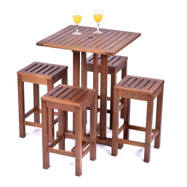 Melton Square Bar Table and 4 Bar Stools