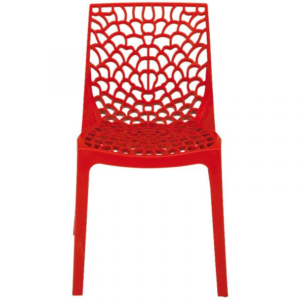 Neptune Polypropylene Stackable Side Chair in Rosso Red