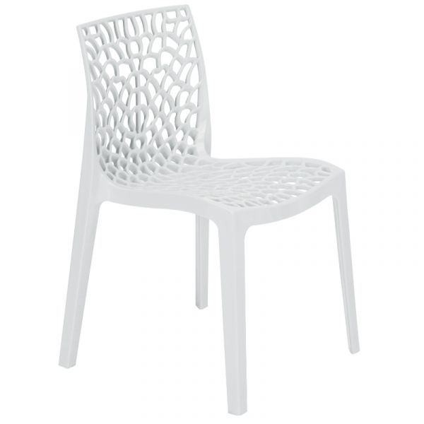 Neptune Polypropylene Stackable Side Chair in Bianco White