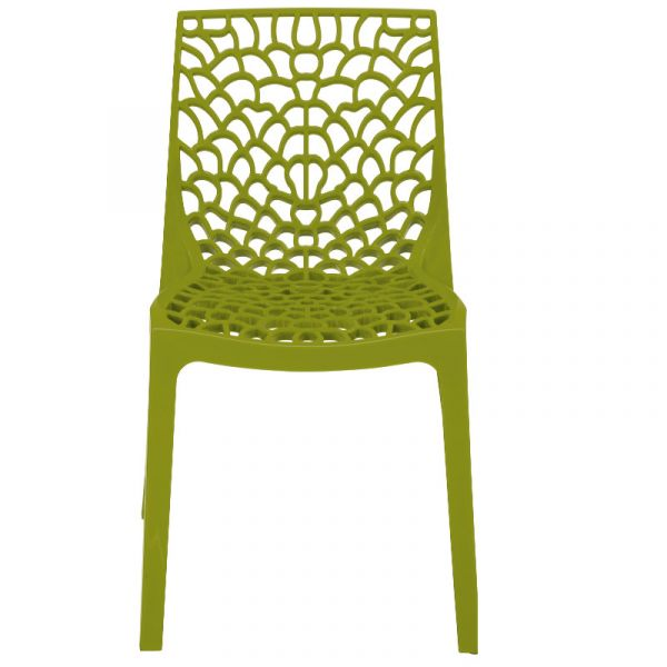 Neptune Polypropylene Stackable Side Chair in Anise Green