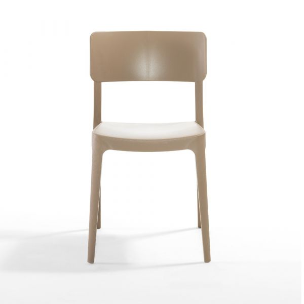 Pano Polypropylene Stackable Side Chair in Sand Beige