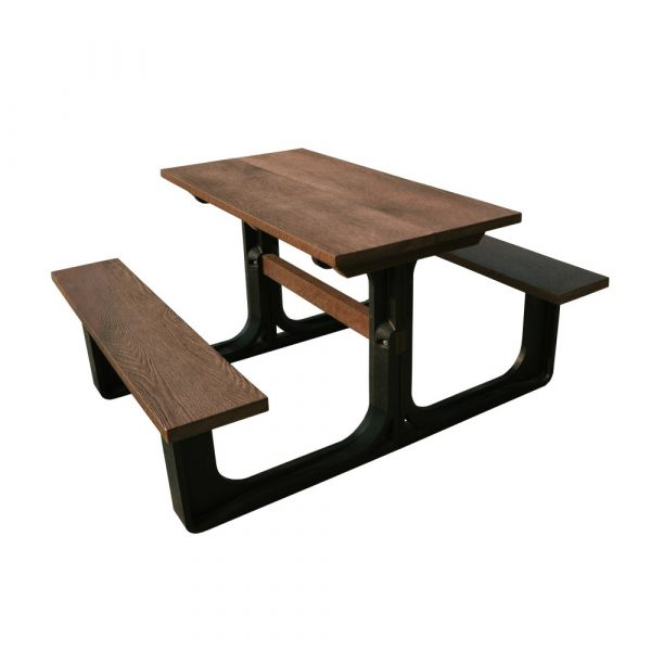 Recycled Small Rectangular Picnic Table Brown/Black
