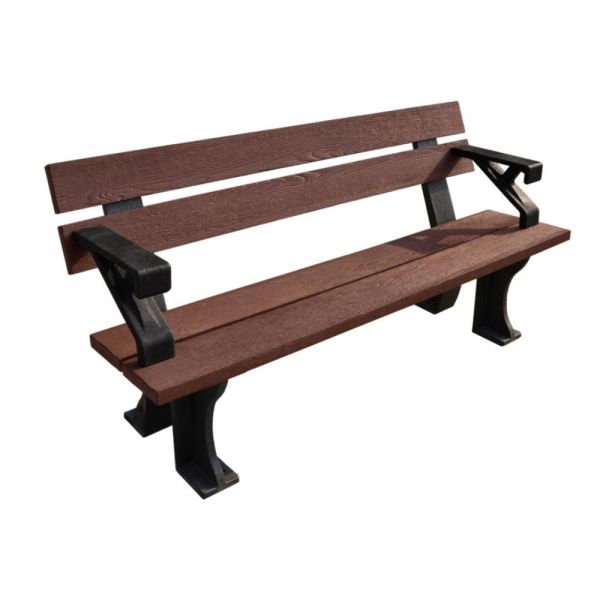 Recycled Bench (With Arms) Black/Brown 150cm
