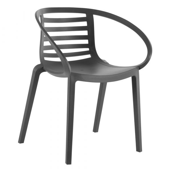 Mambo Polyproylene Stacking Arm Chair in Athracite