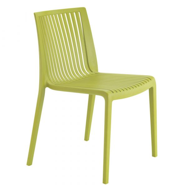 Cool Polypropylene Stacking Side Chair in Lime Green