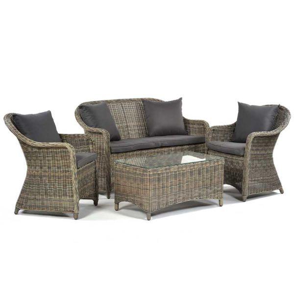 Regent Rattan Sofa Set with Glass Coffee Table