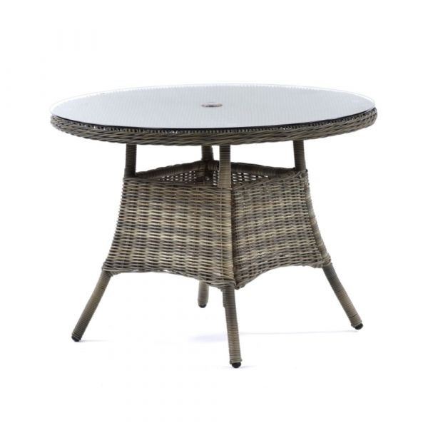 Regent Rattan Round Glass Table and 4 Arm Chairs