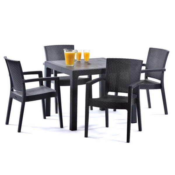 Madrid Rattan Effect Polypropylene Square Table and 4 Arm Chairs