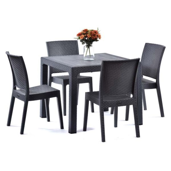 Madrid Rattan Effect Polypropylene square Table and 4 Side Chairs