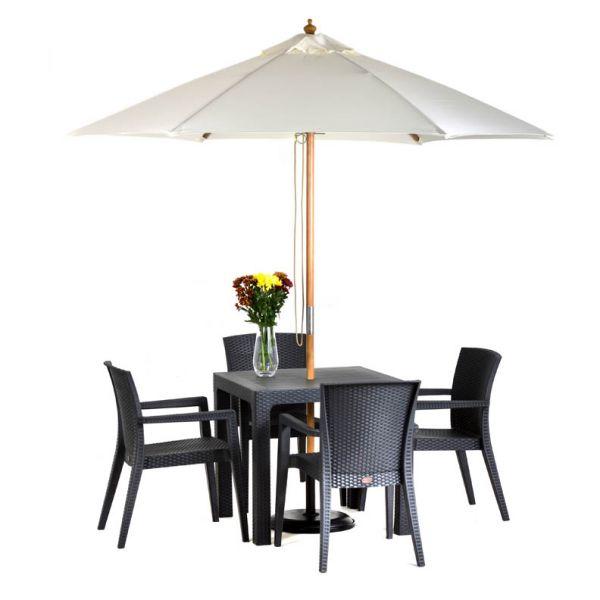 Arizona Madrid 80cm x 80cm Anthracite Square Dining Set with 4 Arm Chairs