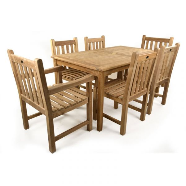 Warwick Grade A Teak Rectangular Table with 4 Side Chairs and 2 Arm Chairs