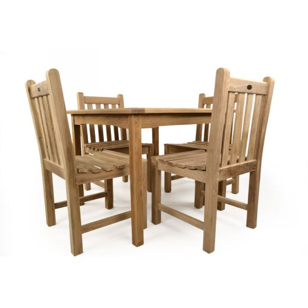 Warwick Grade A Teak Square Table and 4 Side Chairs