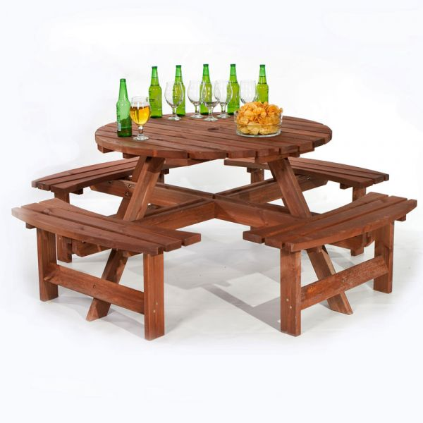 York Round 8 Seat Commercial Picnic Table in Brown