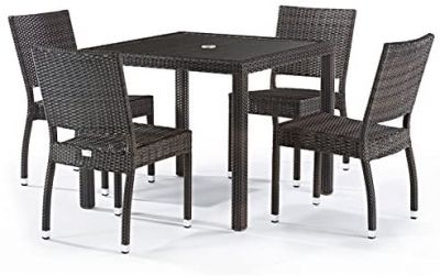 Classic Rattan Square Glass Table and 4 Ascot Side Chairs