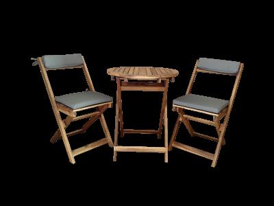 Acacia Folding wooden 2 seat set