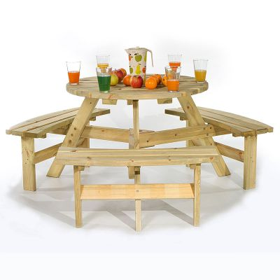 Brentwood Round 6 Seat Commercial Picnic Table