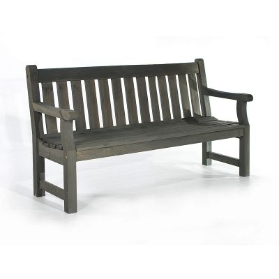Darwin 3 Seat Pine Bench in Dark Grey