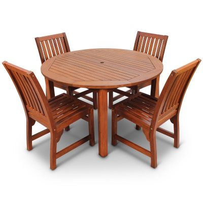 Devon Hardwood Round Table and 4 Side Chairs
