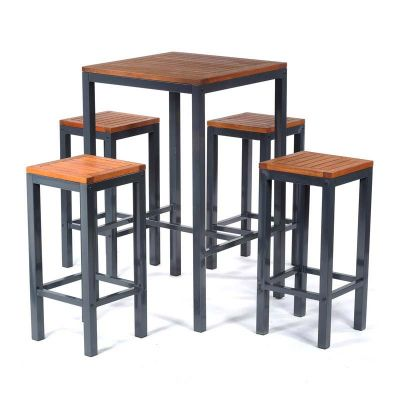 Dorset Hardwood Square Bar Table and 4 Stools