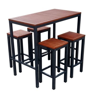 Dorset Hardwood Rectangular Bar Table and 4 Stools