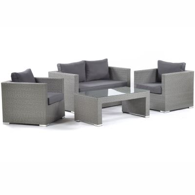 Oasis Rattan Sofa Set with Glass Coffee Table