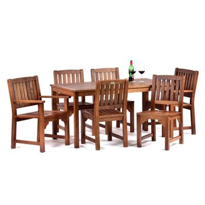 Melton Hardwood Rectangular Table with 4 Side Chairs and 2 Arm Chairs