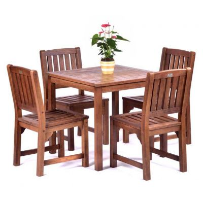 Melton Hardwood Square Table and 4 Side Chairs