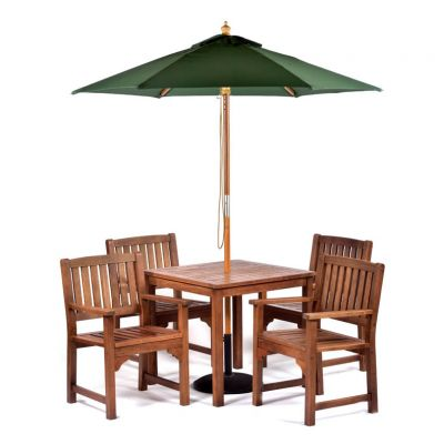 Melton Hardwood Square Table and 4 Arm Chairs