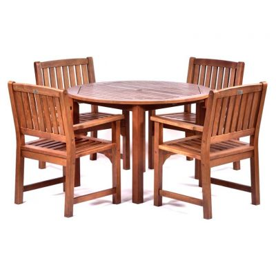 Melton Hardwood Round Table and 4 Arm Chairs