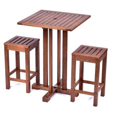 Melton Hardwood Square Bar Table and 2 Bar Stools