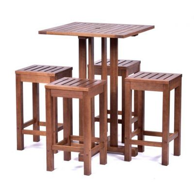 Melton Square Bar Table and 4 Bar Stools
