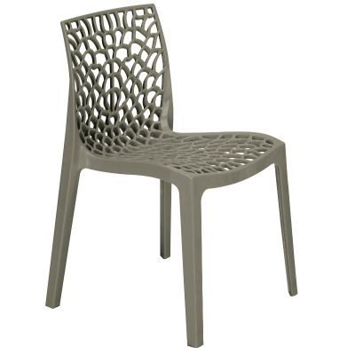 Neptune Polypropylene Stackable Side Chair in Pearl Grey