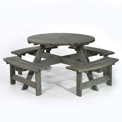 York Grey 8 Seater Round Commercial Picnic Pub Table