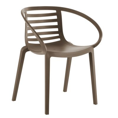 Mambo Polyproylene Stacking Arm Chair in Taupe