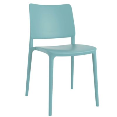 Joy Polypropylene Stacking Side Chair in Aqua Blue