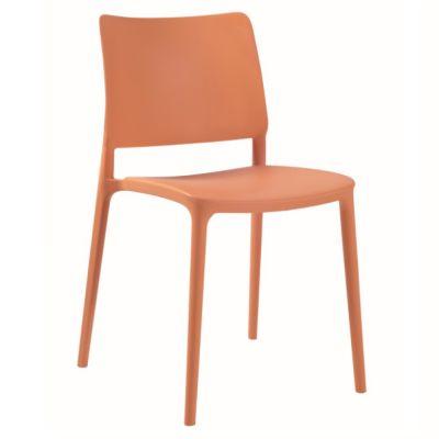 Joy Polypropylene Stacking Side Chair in Orange
