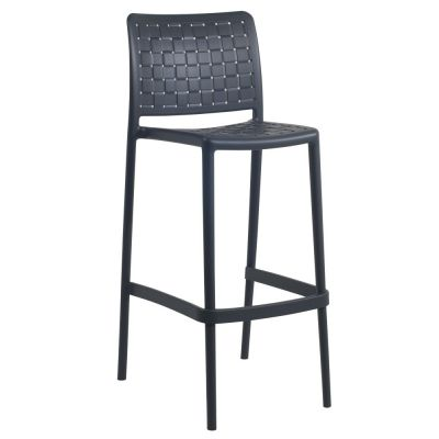 Fame Polypropylene Stacking Bar Chair in Anthracite